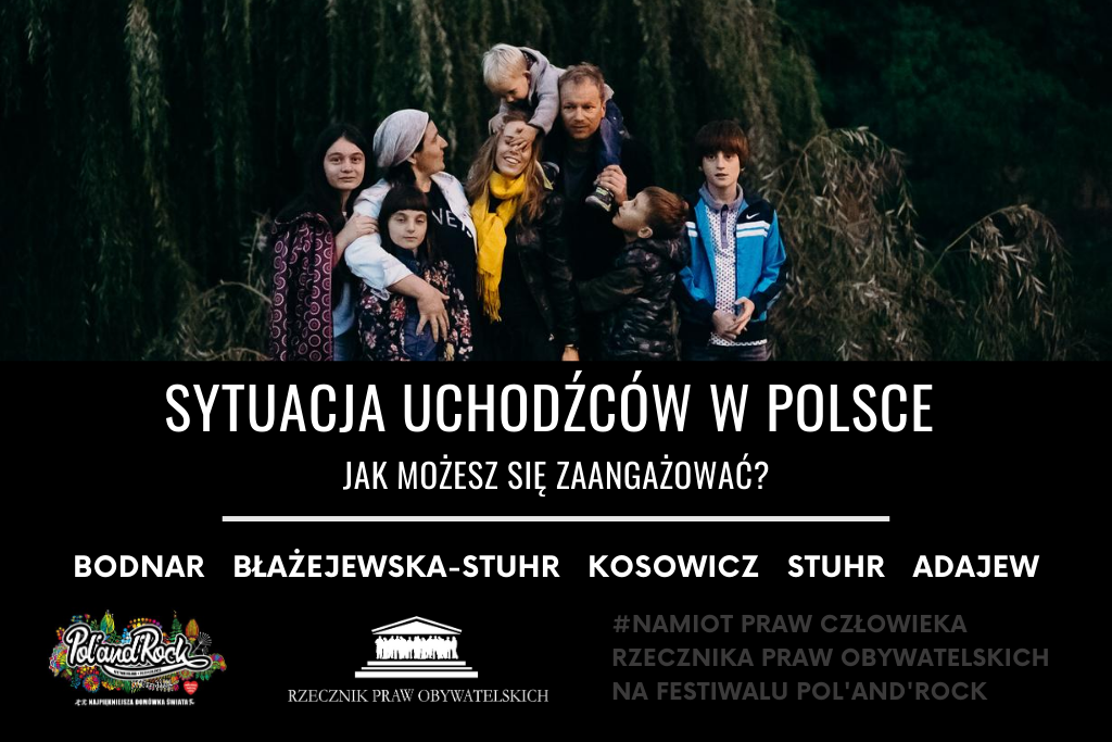 Plakat wydarzenia ze zdjęciem rodziny Stuhr
