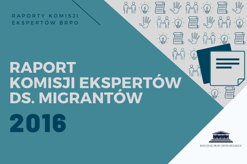 """niebieska plansza z napisem """"Raport Komisji Ekspertów ds. Migrantów za rok 2016"""""""