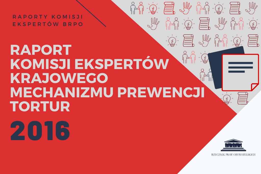 """czerwona plansza z białym napisem """"raport komisji ekspertów KMPT"""""""