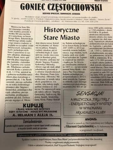 """Fotografia pierwszej strony gazety """"Goniec Czętochowski"""""""