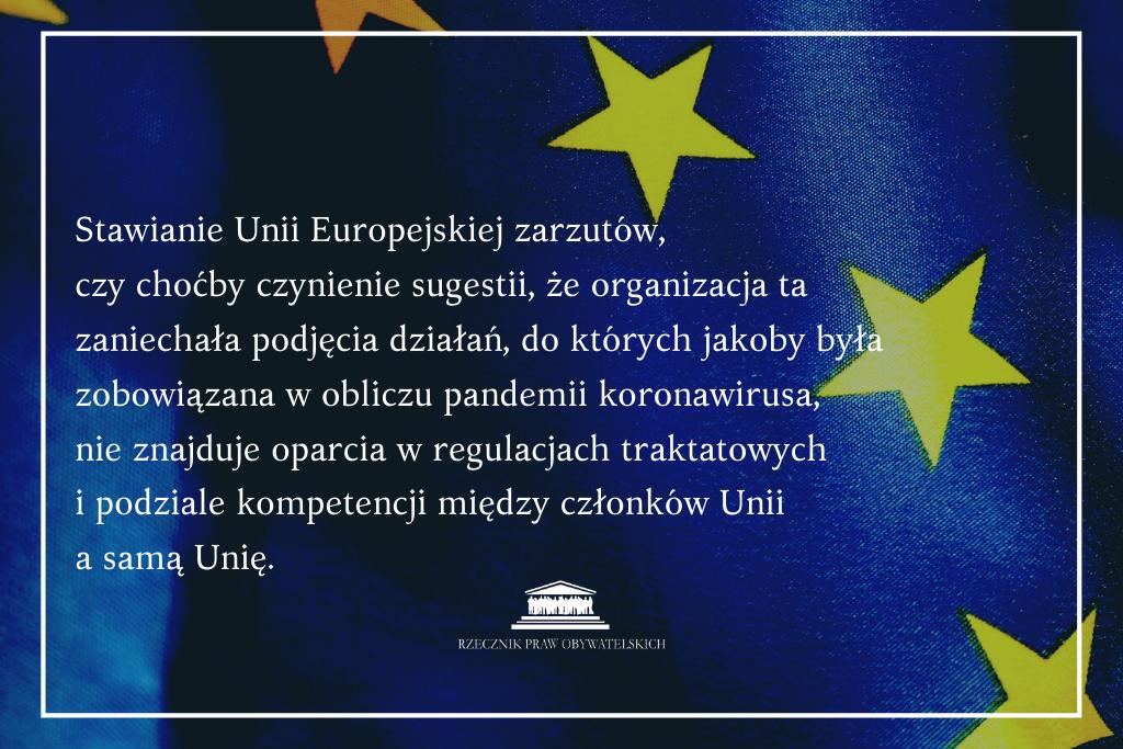 cytat z pisma RPO do premiera na tle flagi UE - o zobowiązaniach Unii względem członków