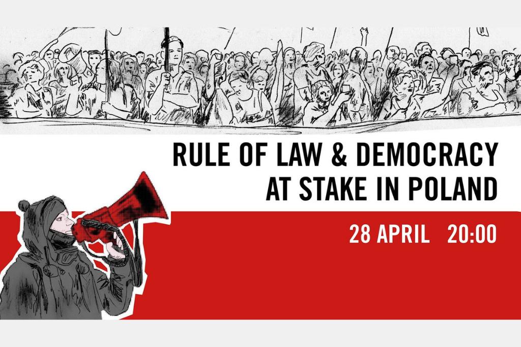 """białoczerwona plansza z napisem """"Praworządność i Demokracja zagrożone w Polsce"""""""