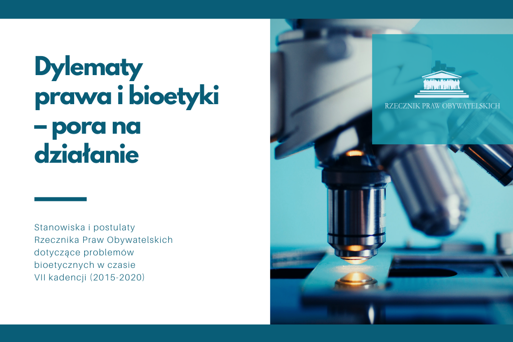 plansza z napisem Dylematy prawa i bioetyki – pora na działanie, po prawej mikroskop