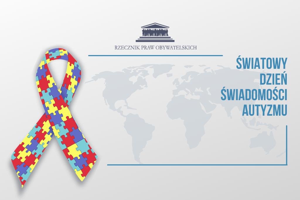 plansza z kolorową wstążką i napisem światowy dzień świadomości autyzmu