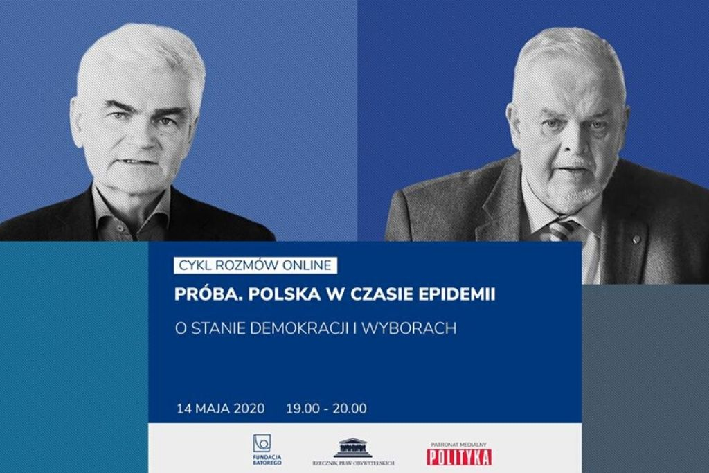 niebieska plansza z dwoma czarno-białymi twarzami mężczyzn