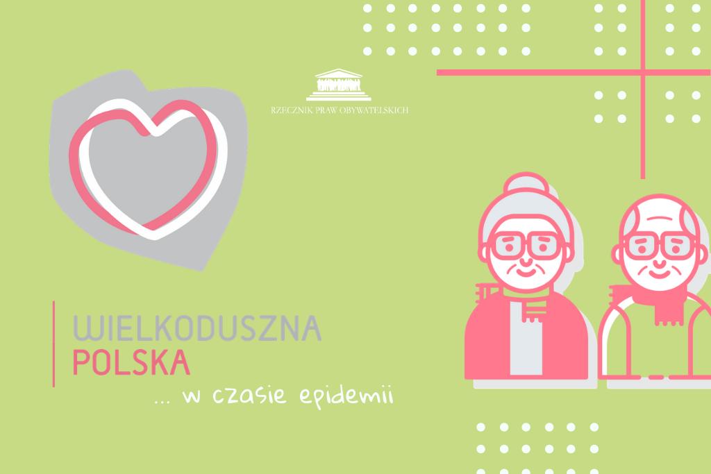 Grafika z sercem wpisanym w kontur Polski, seniorka i senior