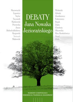 Biała okładka z zielonym pasem i sylwetką drzewa bez liści