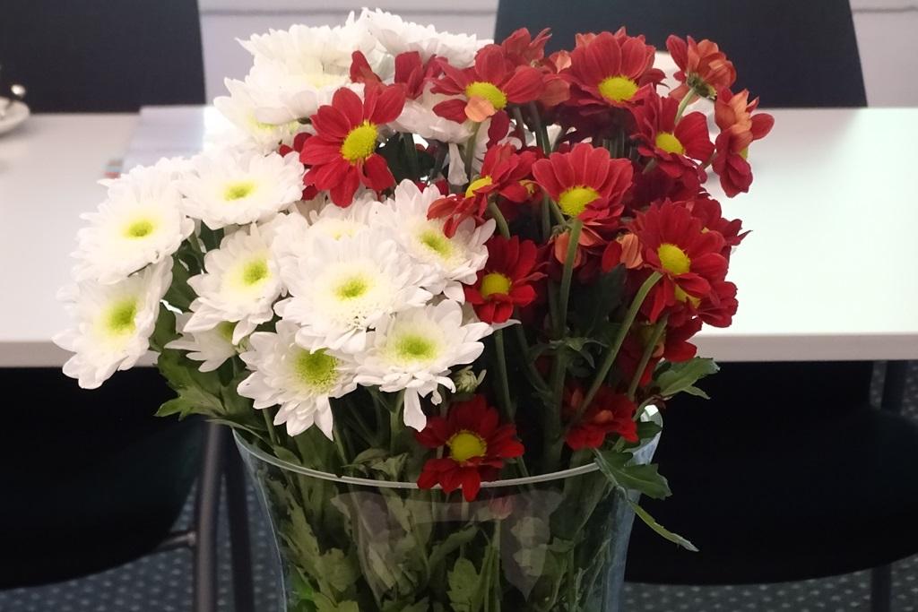 Zdjęcie: bukiet biało-czerwonych kwiatów