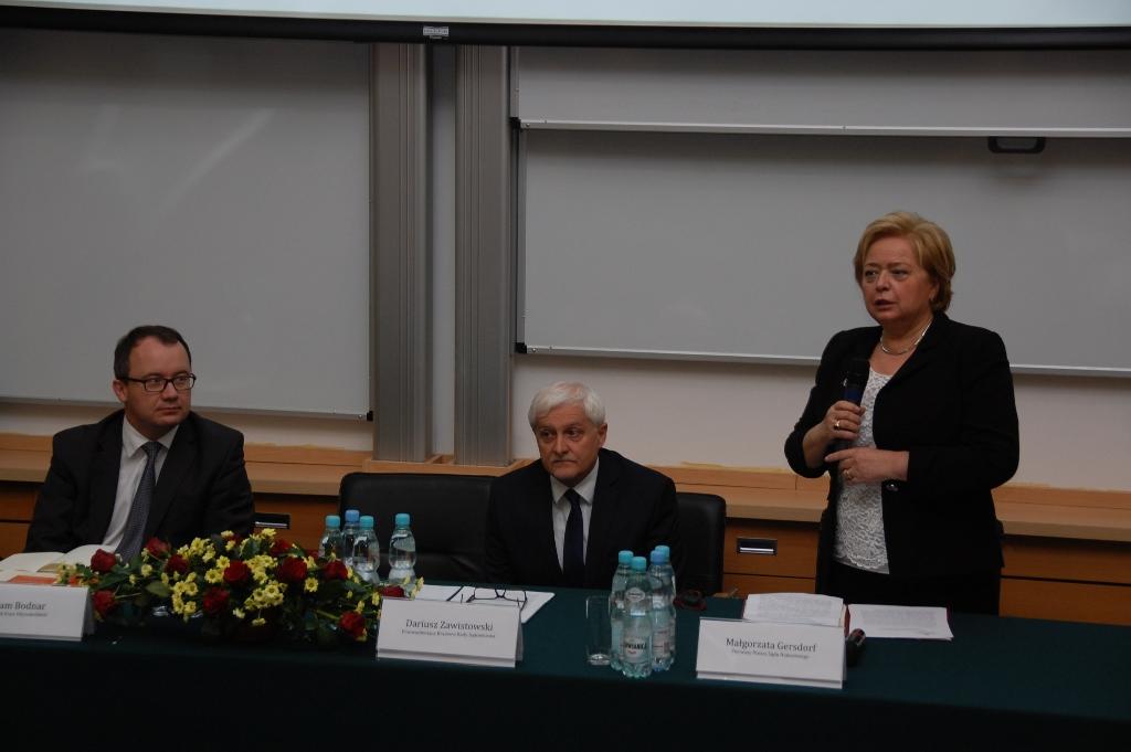 na zdjęciu dr Adam Bodnar, sędzia Dariusz Zawistowski, prof. Małgorzata Gersdorf