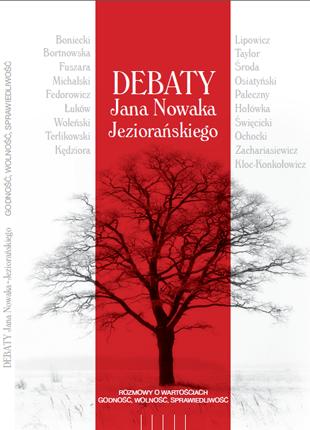 Okładka z czarnym tytułem, czerwonym pasem i sylwetką drzewa bez liści