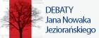 Logo Debat Jana Nowaka-Jeziorańskiego. Na obrazku okładka książki Debaty Jana Nowaka-Jeziorańskiego. Link prowadzi do zapisu wideo debat.