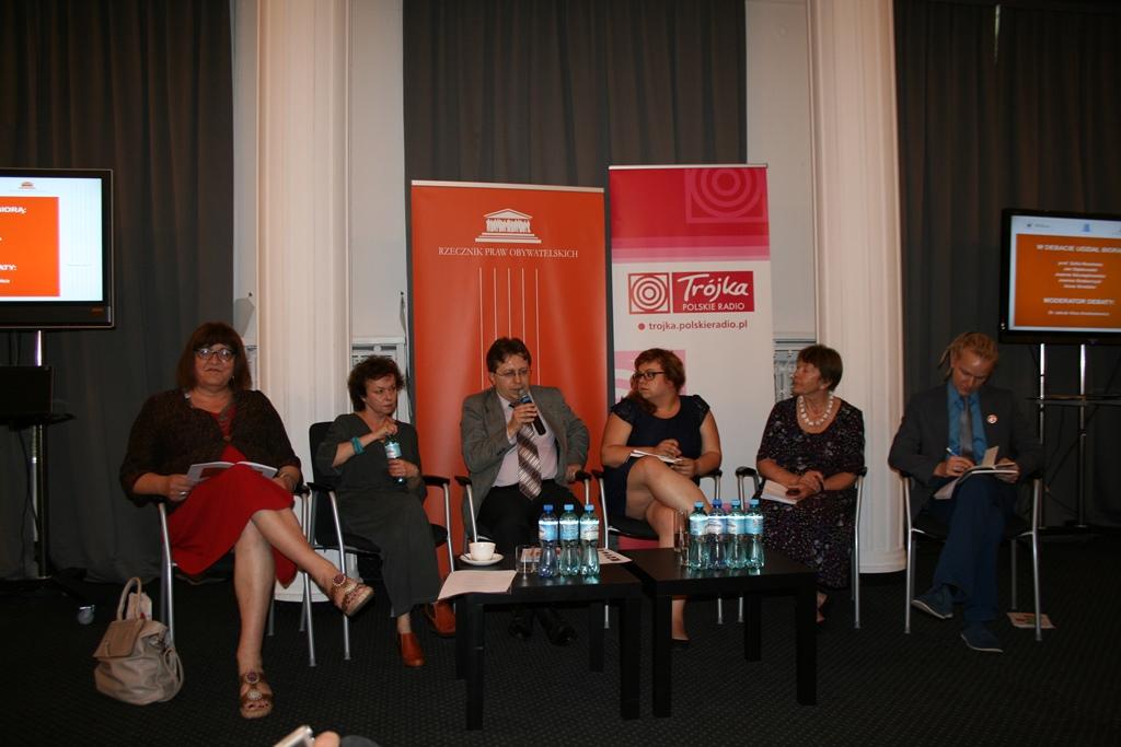 na zdjęciu paneliści od lewej: Anna Grodzka, Joanna Szczepkowska, dr Jakub Kloc-Konkołowicz, Joanna Grabarczyk, prof. Zofia Rosińska, Jan Dąbkowski