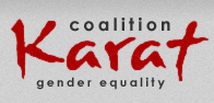 Na  obrazku logo Koalicji Karat w formie napisu Coalition Karat Gender equality
