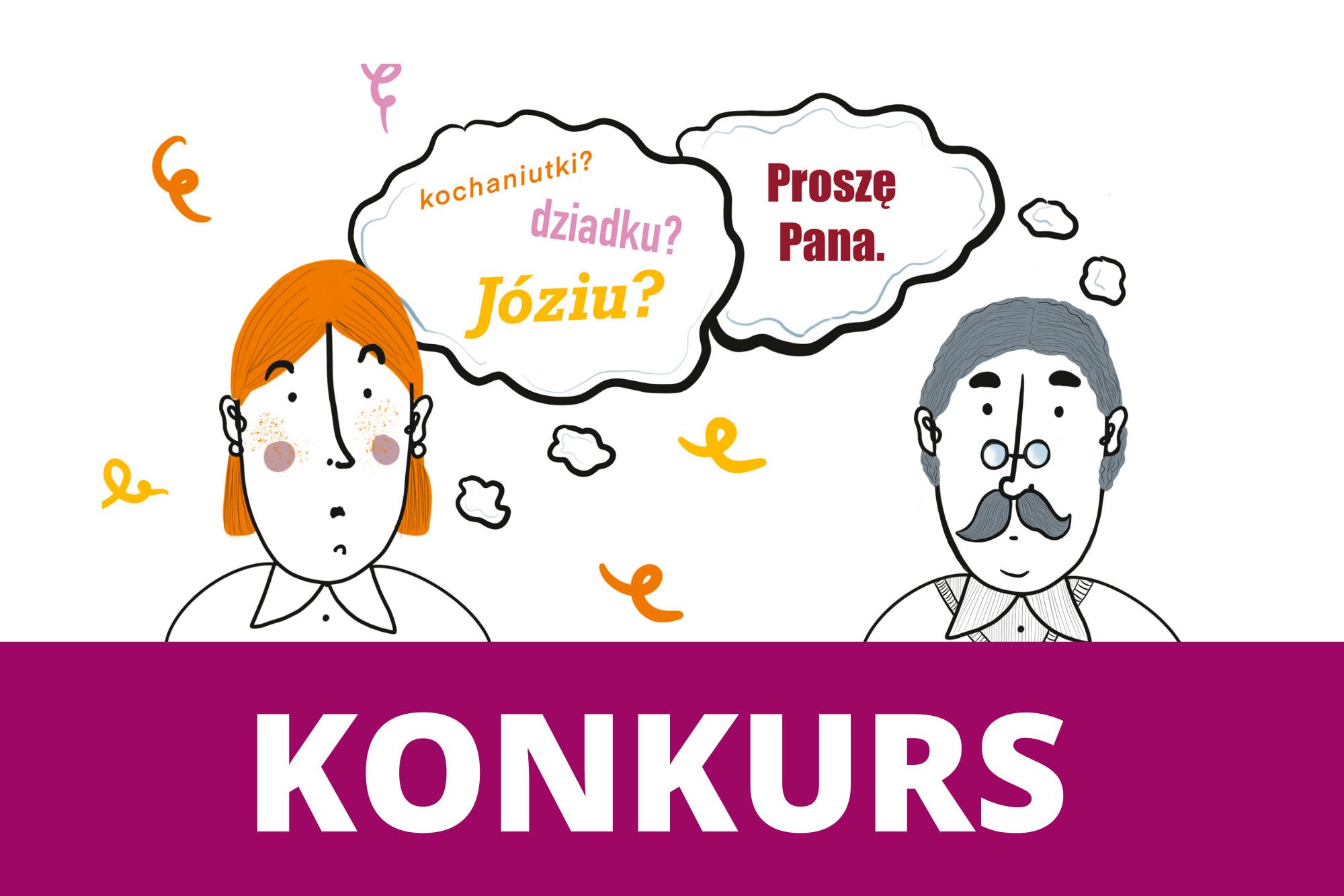 rysunek przedstawiający dwie osoby z napisem konkurs