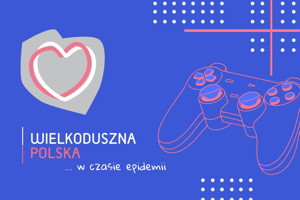 niebieska plansza z logo wielkodusznej Polski, po prawej rysunek pada do gier