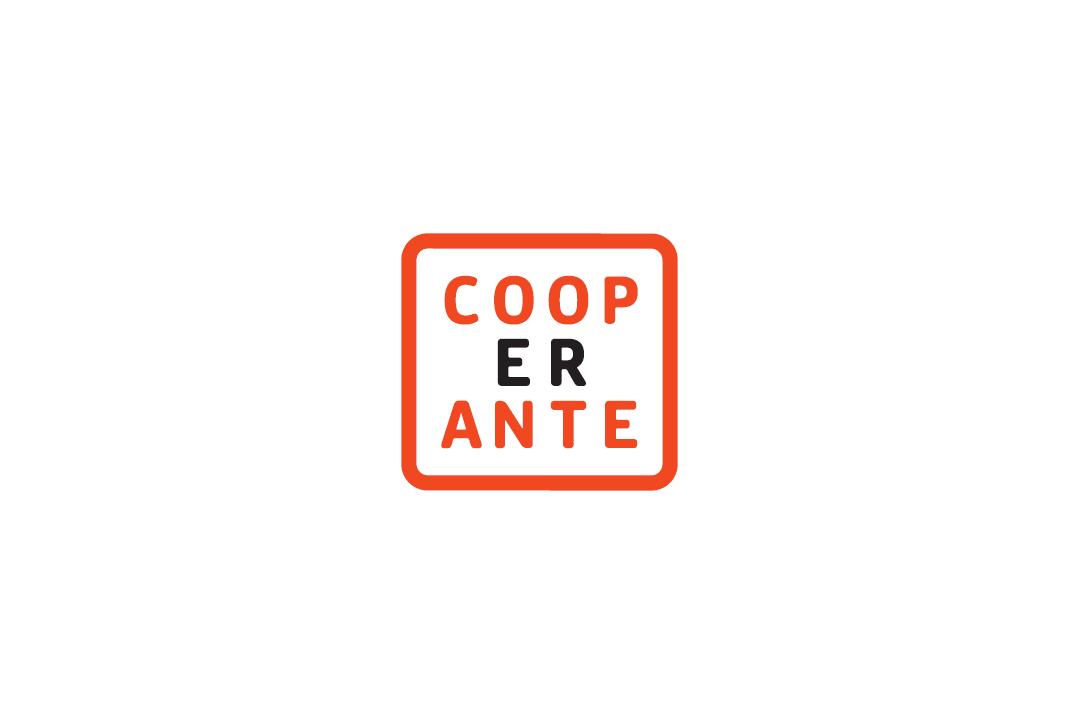 na białym tle kwadratowa pomarańczowa ramka, wewnątrz ramki napis COOPERANTE podzielony na trzy wersy
