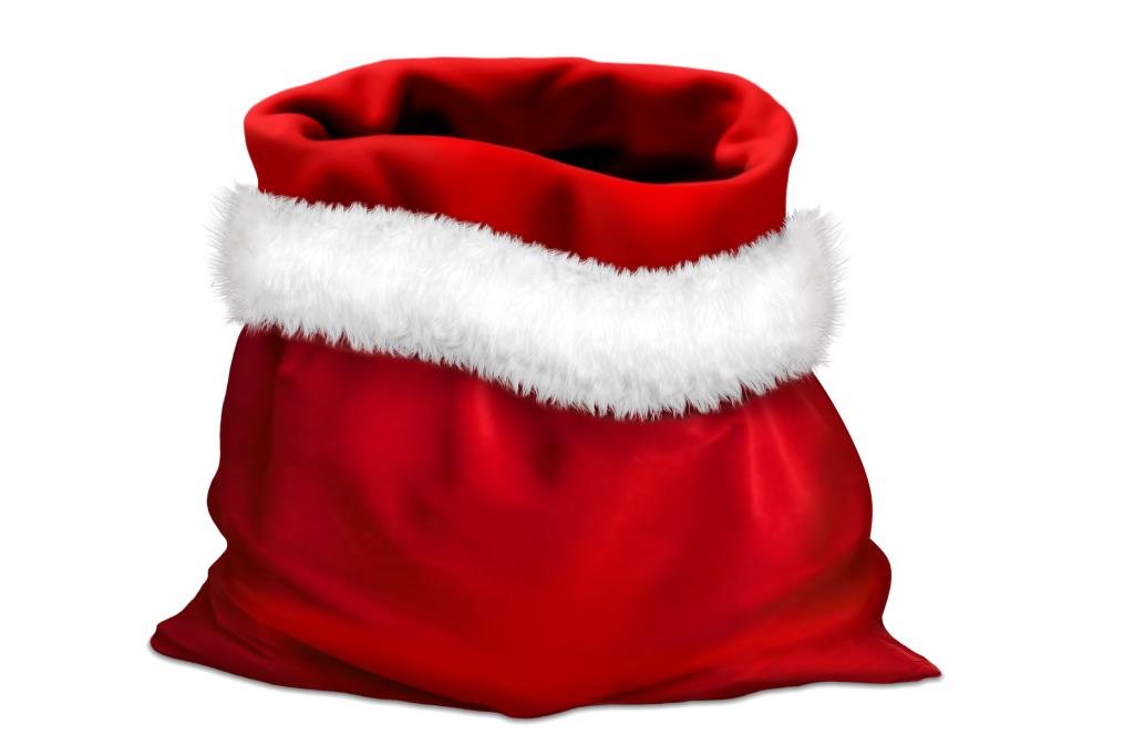 Czerwony worek obszyty białym futrem