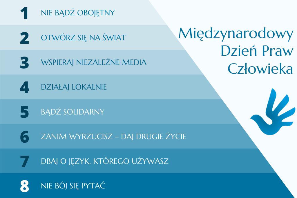 niebieska plansza z 8 krokami wspierającymi prawa człowieka