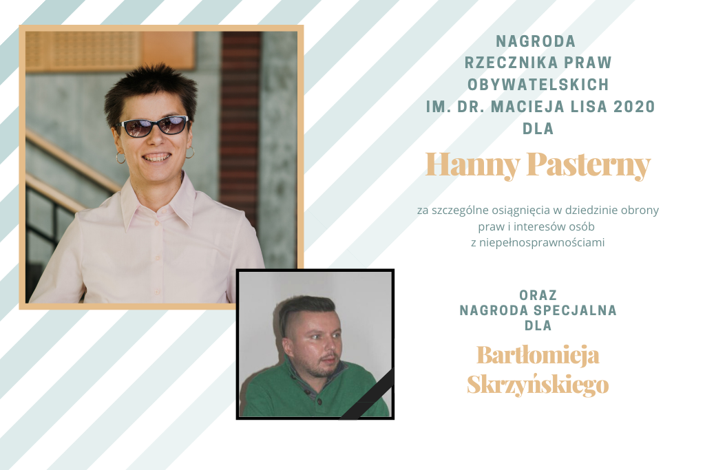 plansza ze zdjęciami laureatów nagrody RPO im. dra Macieja Lisa 2020