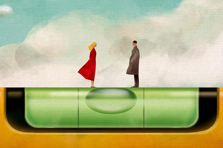 Rysunek: kobieta i mężczyzna stoją w harmonii na poziomicy - metafora równości