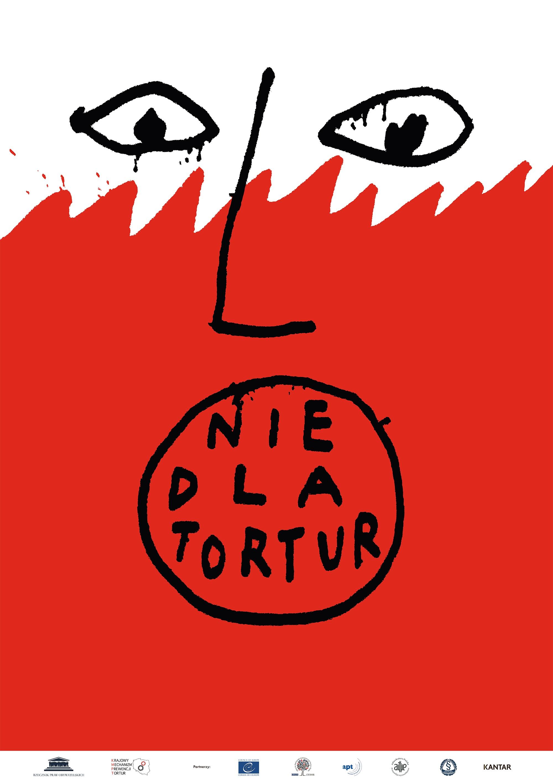 """Plakat z symbolem krzyczącej biało-czerwonej twarzy """"nie dla tortur"""""""