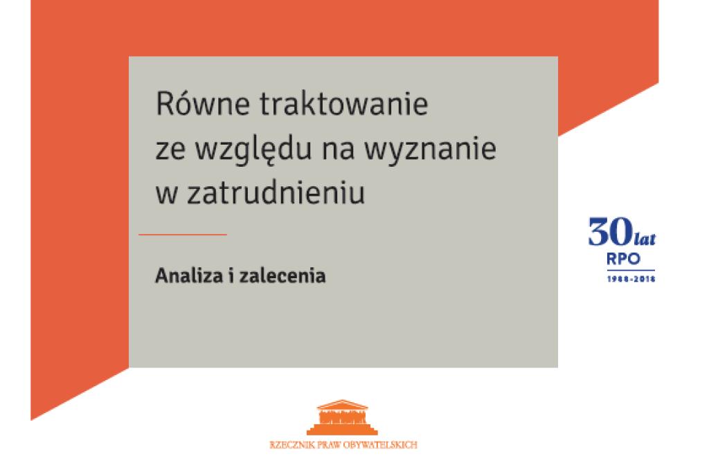"""Pomarańczowa okładka z tytułem """"Równe traktowanie ze względu na wyznanie w zatrudnieniu"""""""