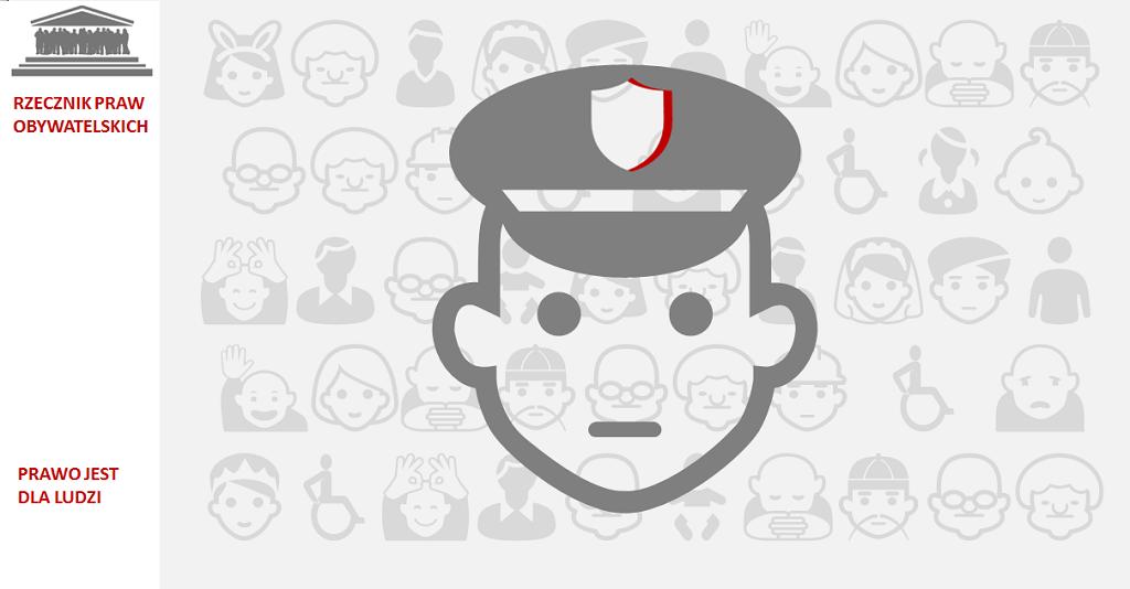 Grafika: głowa w żołnierskiej czapce na szarym tle