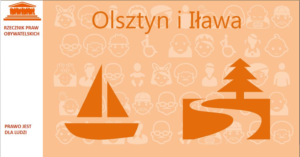 Grafika: na pomarańczowym tle żaglówka, droga i las