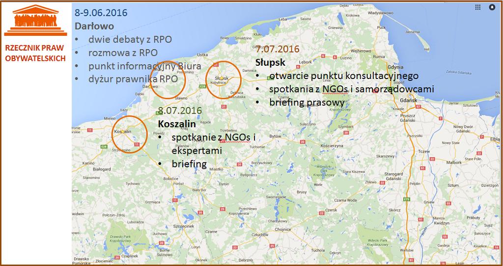 Mapa Polski z zaznaczeniem miejscowości: Nowe Marzy, Słupsk, Koszalin i Darłowo