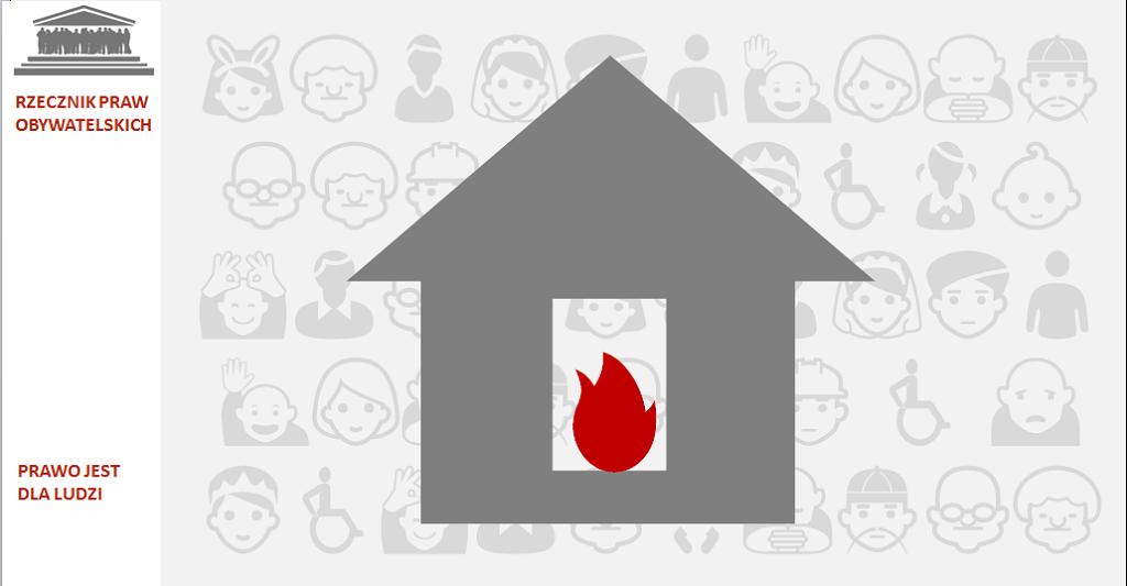 Grafika: szary dom i czerwony płomień w środku
