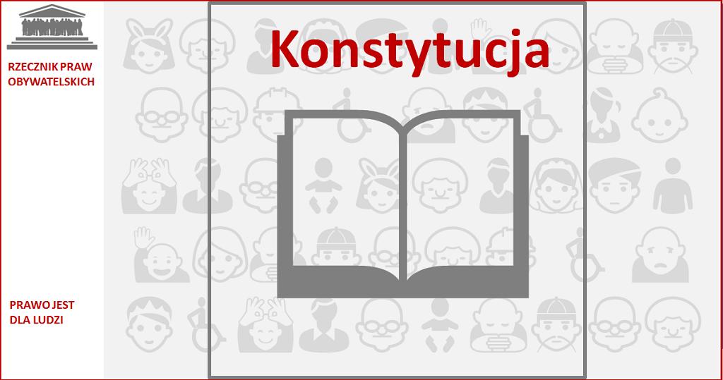 Grafika; otwarta księga z napisem Konstytucja