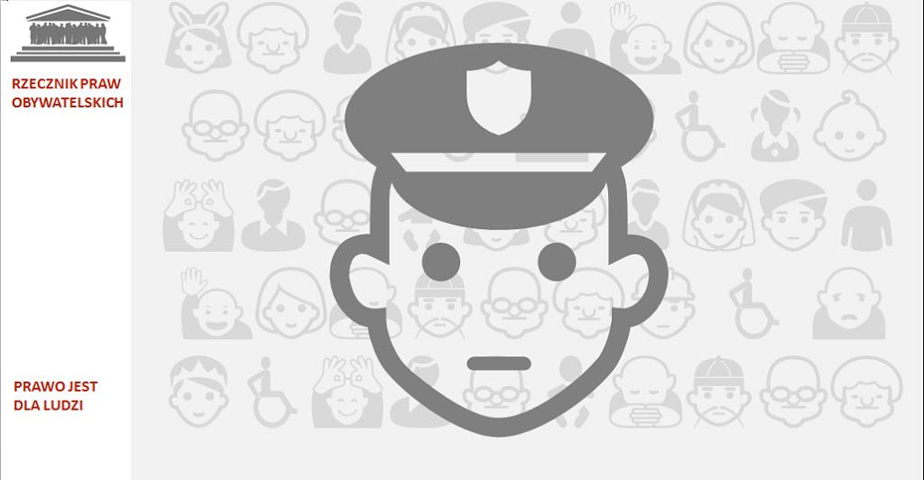 Grafika - głowa funkcjonariusza w czapce mudnurowej