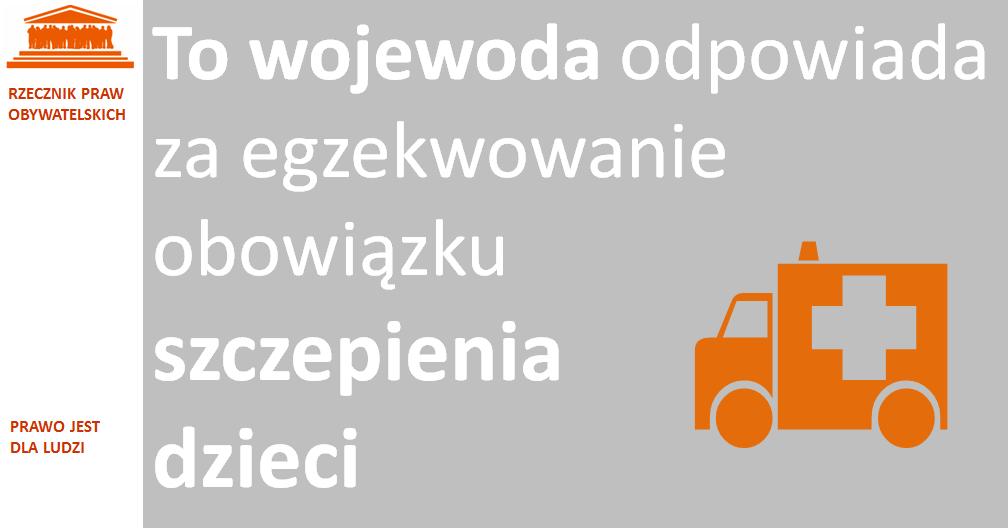 Grafika: pomarańczowa karetka na szarym tle i biały napis