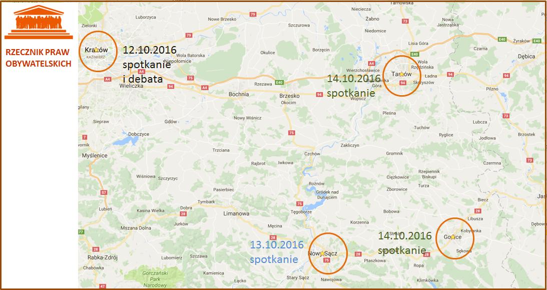 Mapa Małopolski z zaznaczonymi miejscowościami: Kraków, Nowy Sącz, Gorlice, Tarnów