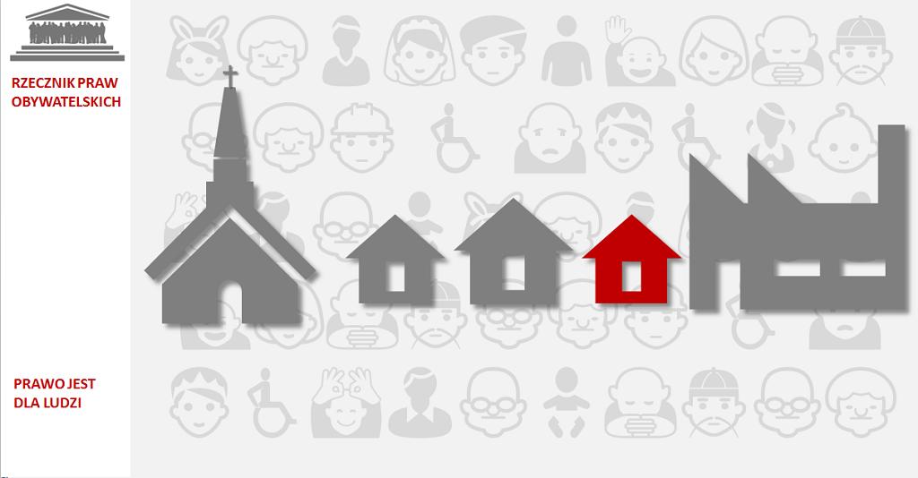 Grafika: domy, kościół i fabryka na szarym tle