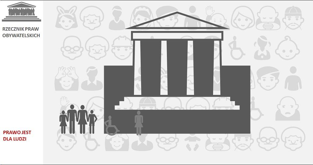 Grafika: budynek i ludzie