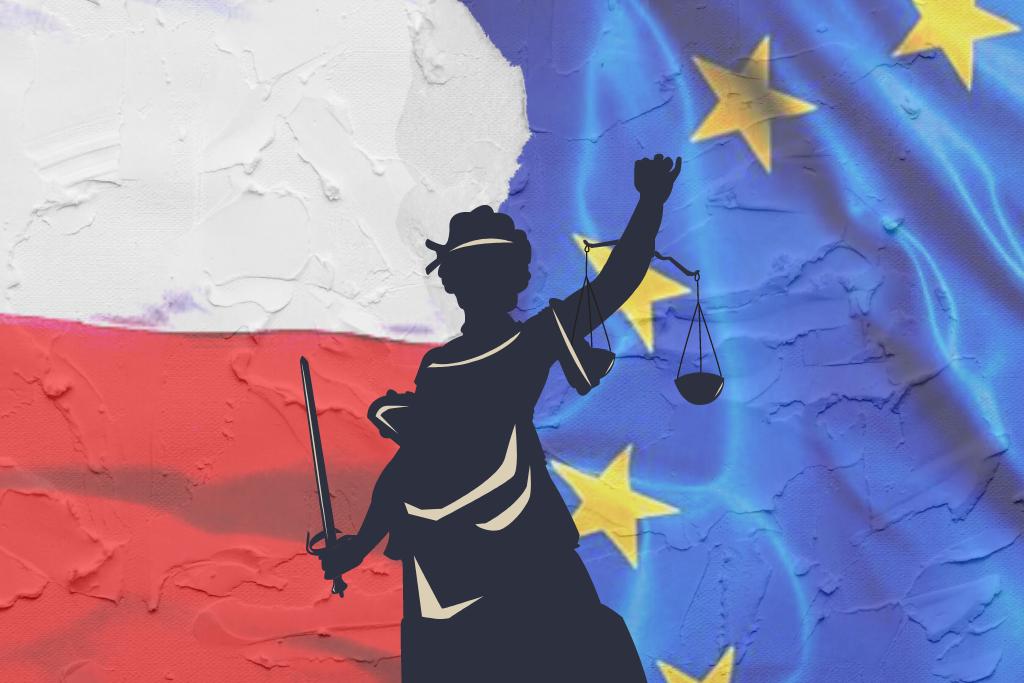 kolaż z flagą UE i Polski oraz symbolem temidy