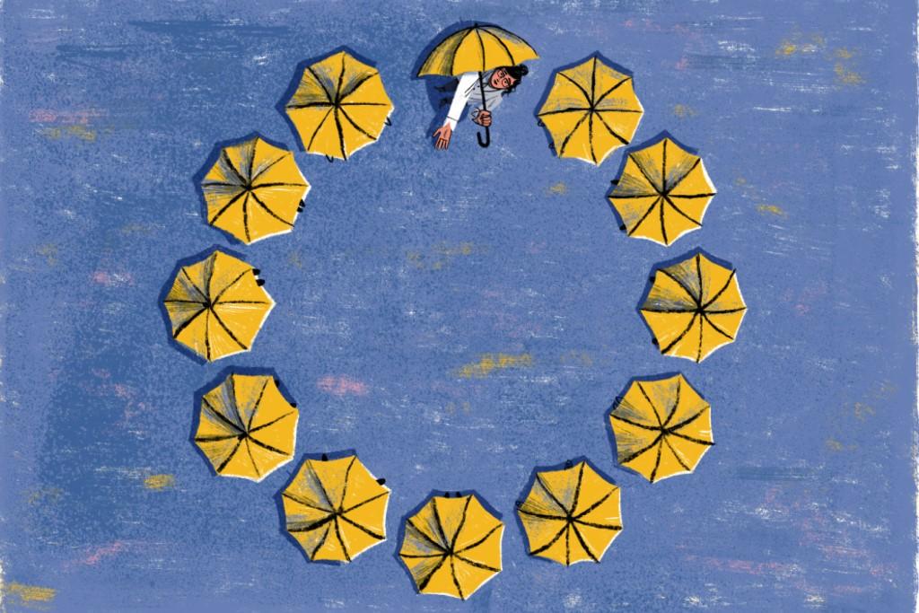Grafika: na niebieskim tle gwiazki-parasolki. Spod jednej z nich wygląda człowiek