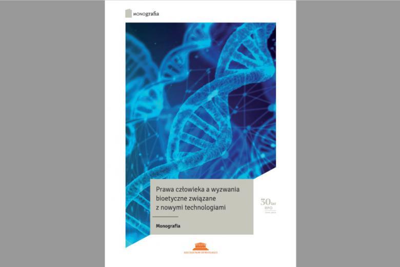 Niebieska okładka z helisą DNA