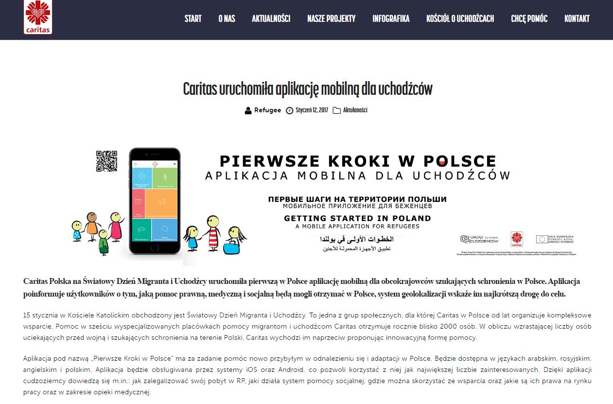 """Screen strony internetowej - symbol smartfona i napis """"Pierwsze kroki w Polsce"""""""