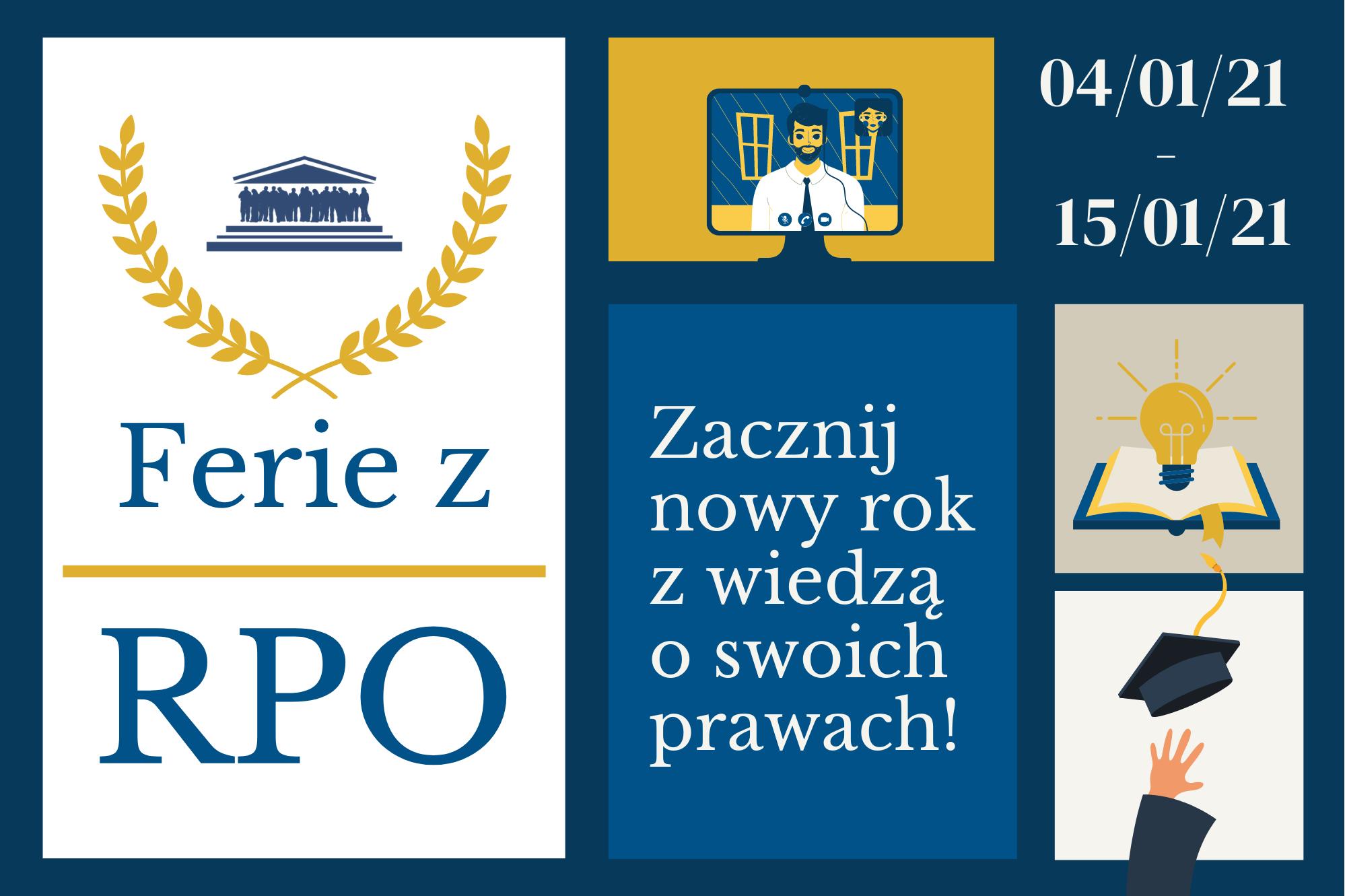 granatowo-żółta plansza zapraszająca do udziału w projekcie Ferie z RPO