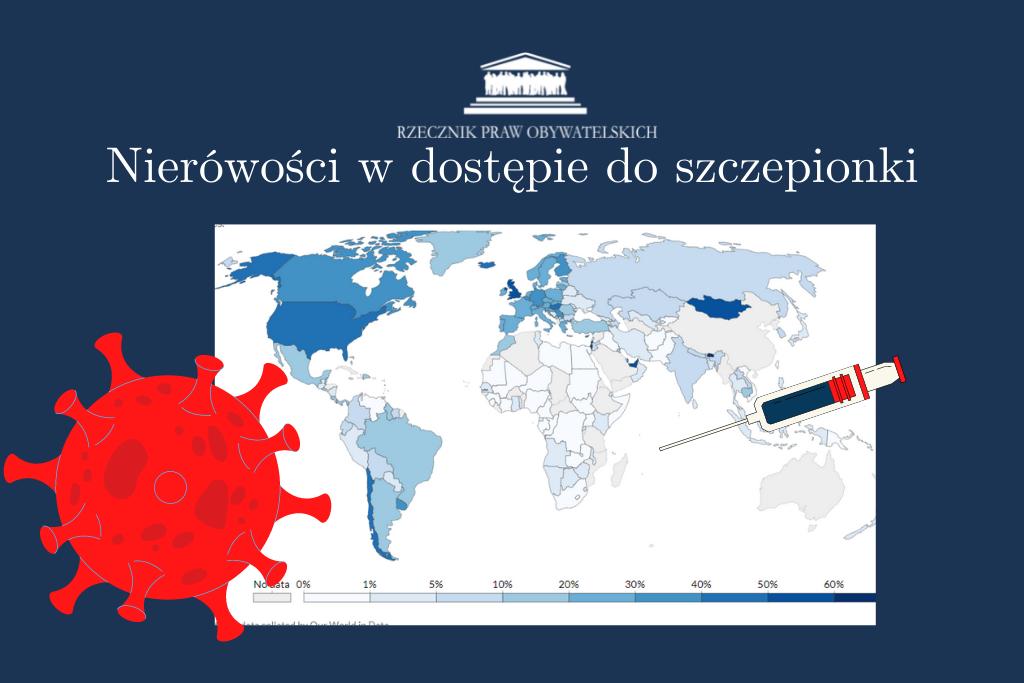 Grafika z mapą świata pokazującą, w jakich państwach mieszkają zaszczepieni ludzie
