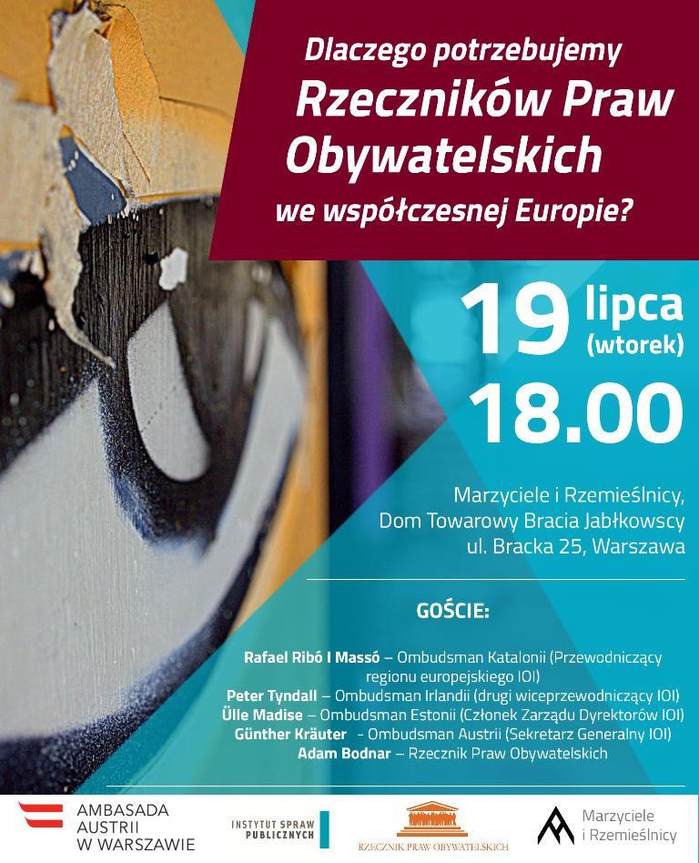 Grafika: plakat z zaproszeniem na debatę
