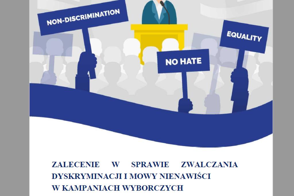"""Okładka z angielskimi napisami """"No hate"""", """"Non-discrimination"""", """"Equality"""""""