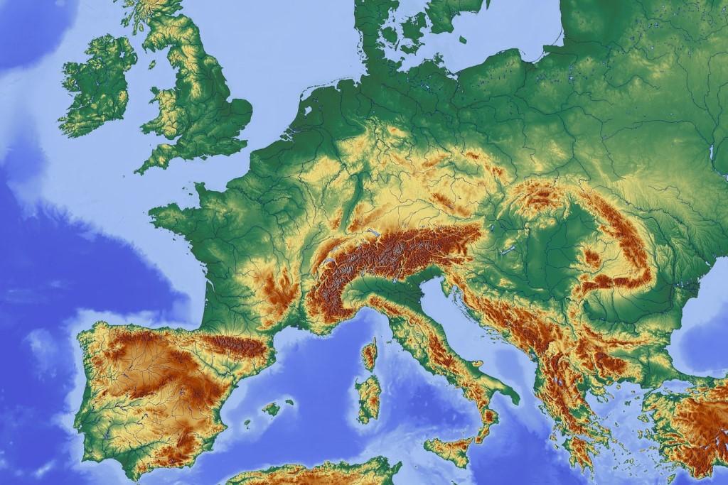 Mapa fizyczna Europy