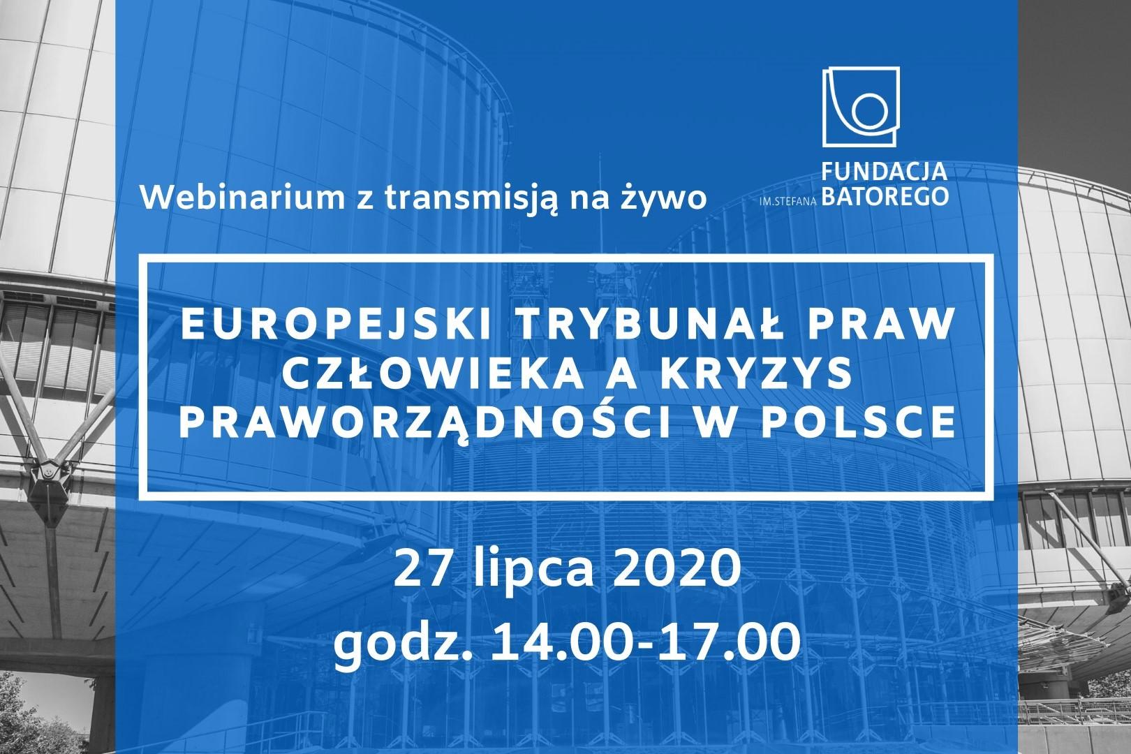 Niebieski plakat wydarzenia ze zdjęciem trybunału