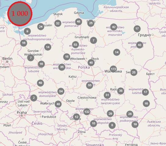 grafika: mapa Polski z zaznaczonymi punkami, w lewym górnym rogu liczba: 1000