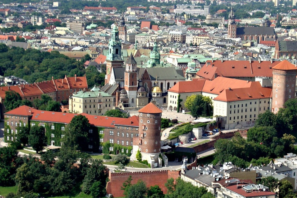 Widok starego miasta i zamku