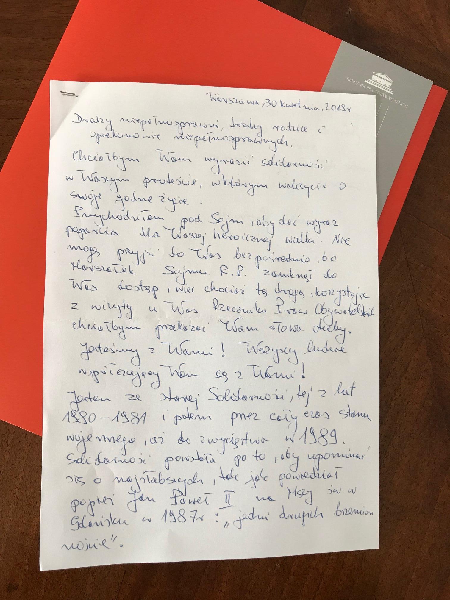 Odręczny list - treść w tekście
