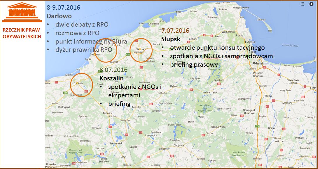 Mapa Polski z zaznaczonymi miejscami, które odwiedzi RPO: Słupsk, Koszalin, Darłowo